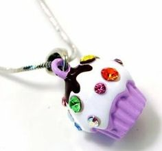 Adorable Juicy Inspired Small Light Purple Cupcake w/ Frosting and Sparkling Rainbow Crystal Sprinkles Necklace Necklaces by Glamour Girl Gifts. $17.49