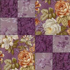 Eggplant quilt | ... Rose Purple Eggplant Orange Floral Pre-cut Quilt Fabric Kit…