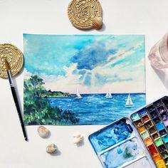 Paisaje marino con nubes y veleros en acuarela. Night, Artwork, Sailing Ships, Clouds, Watercolor Painting, Scenery, Work Of Art, Auguste Rodin Artwork, Artworks