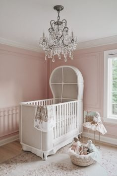 A gorgeous nursery featuring Atelier Choux's luxury Dollhouse swaddle. Photo by Punk Nursery, Girl Nursery, Girl Room, Girls Bedroom, Nursery Crib, Baby Room Decor, Nursery Decor, Nursery Ideas, Luxury Nursery