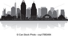 Vector - Cincinnati Ohio city skyline silhouette - stock illustration ...