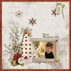 Ewan - Christmas Eve A digital scrapbook page by Diane.  The digital scrapbooking layout is made using digital scrapbooking kit(s) designed by Amy Wolff, sold at The Lilypad: Recollection, All I Need kits