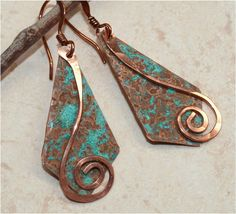 Rustic Copper Earrings by SunStones on Etsy, $14.00