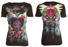 "Selling this ""**SOLD** Affliction Short Sleeve Graphic Top"" in my Poshmark closet! My username is: Country Outfits, Western Outfits, Grunge Outfits, Fashion Outfits, Womens Fashion, Funky Fashion, Affliction Clothing, Heart With Wings"