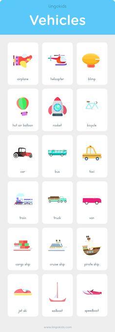 Modes of Transportation #preschool #activities #kindergarten #transportation #pictures #world #travel #kids #worksheets #vehicles #flashcards #english #englishlanguage #esl #lingokids #printable #free