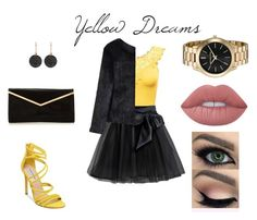 """Yellow Dreams"" by joanne-jkmn on Polyvore featuring Little Wardrobe London, Steve Madden, Astley Clarke, Chicwish and Lime Crime"