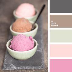 color helado, color helado de frambuesa, color helado de fresa, color oliva, gris y rosado, gris y verde oliva, marrón y rosado, marrón y verde oliva, oliva y marrón, oliva y rosado, rosado y gris, rosado y marrón, rosado y verde oliva, tonos rosados, verde y rosado.