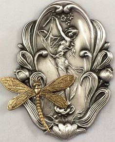 "Sterling Overlay on Stamped Brass ""Art Nouveau Woman Dragonfly"" Button 2 1 2"" 