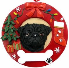Pug Christmas Ornament Black Wreath Shaped Easily Personalized Holiday Decoration Unique Pug Lover Gifts ** More info could be found at the image url. (This is an affiliate link) Pug Christmas, Black Christmas, Christmas Items, Christmas Decor, Hand Painted Ornaments, Dog Ornaments, Personalized Christmas Ornaments, Pug Rescue, Black Pug Puppies