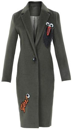 Embroidered Wool-Blend Coat in Black | DESIGNER COAT SALE - www ...