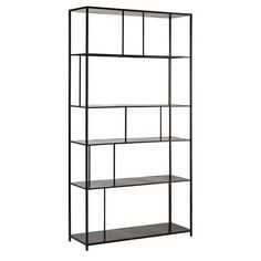 Metal shelf unit in black W 107cm