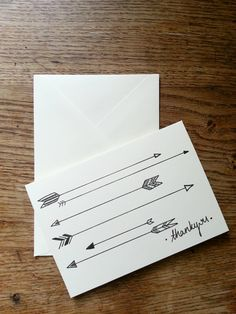 Arrow hand drawn set of 5 Thank You cards by PaintedArrow, Cool Cards, Diy Cards, Thank U Cards, Stationery Set, Stationary, Hand Drawn Cards, Learn Art, Scrapbook Cards, Scrapbooking