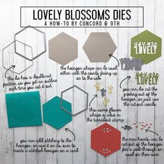 Lovely Blossoms Dies - Concord & 9th Concord And 9th, Hexagon Shape, Craft Tutorials, Color Mixing, Stitch Patterns, Blossoms, Craft Supplies, Card Making, Paper Crafts