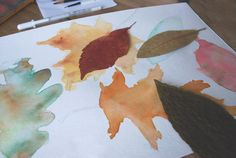 Collected leaves... trace and paint with watercolors. Great autumn art project!