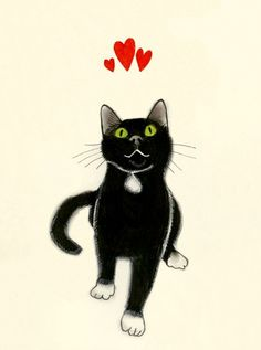 Love you too Kitty!...Black Cat Art - Yours Devotedly by matouenpeluche on Esty