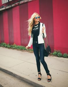 daily outfit shoot for Amber Fillerup Clark of barefootblonde.com hot pink white blazer Jessica Janae photogrpahy