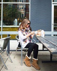 "Classic fall: scarf, boots, coffee. #UGGseason"""