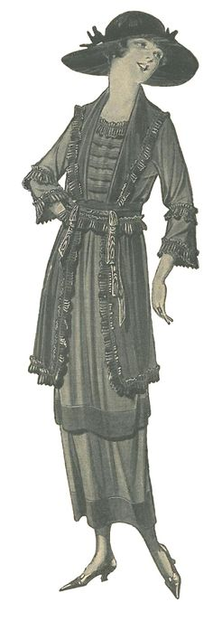 Stay stylishly dressed and comfortably cool in this voile dress suitable for mourning. Collar, sleeves, peplum and girdle embellished with narrow plaited ruffle. Tucked vestee also shows a ruffled neck. Enhanced with black moire ribbon across front of belt. Wide tuck on skirt. Dress fastens at side-front. Available in Black, Navy Blue, and Gray. $11.98 ~ from the 1920 Spring/Summer Catalog