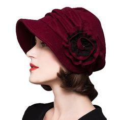 1920s Style Hats Decorative Flowers Wool Beret $28.40 AT vintagedancer.com