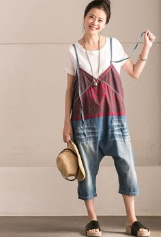 Dark Blue Art Joining Together Cowboy Jeans Overalls N0395B