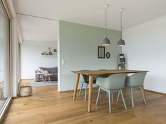 Einfamilienhaus# röns# modern holzbau architektur# flachdach# satteldach. Dining Table, Furniture, Home Decor, Home, Sliding Door Room Dividers, Home Living Room, Kitchen Dining Rooms, Gable Roof, Timber Flooring
