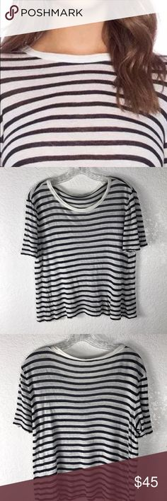 "T by Alexander Wang Striped Viscose Linen Tee L T by Alexander Wang Striped Viscose Linen Tee Large pit to pit 18"" Length 20"" Small discoloration spot on the shirt please see pics for details Alexander Wang Tops Tees - Short Sleeve"