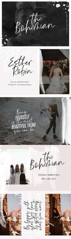 """""""The Bohemian"""" is a handwritten brush typeface coming in two versions. Its casual look makes it the perfect fit for signature logos, printed quotes, wedding invitation cards, social media headers, product packaging and a lot more! --- Here is what you get in the download: - """"The Bohemian"""" Regular and Alt (uppercase & lowercase letters, numbers,"""