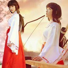 Japanese Anime Inuyasha Cosplay Kikyo Miko Cosplay Kimono Costume Witch Cosplay Halloween Costumes for women S-XL Free Shipping(China (Mainland))