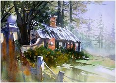 """""""abandoned gate house"""" northern ireland thomas w schaller - watercolor 13x18 inches 22 feb. 2015"""