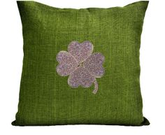 Green Burlap pillow cover with platinum clover - Decorative cushion cover- St Patrick Day gift - Sequin Throw pillow 16X16