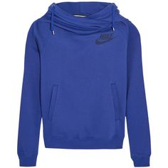 Nike Rally cotton-blend fleece hooded top, Women's, Size: XS (62 CAD) ❤ liked on Polyvore featuring tops, hoodies, outerwear, royal blue top, blue hoodie, sweatshirt hoodies, blue hooded sweatshirt and funnel-neck hoodies