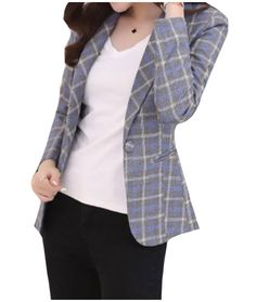 c4f4ae30f2698 XiaoShop Womens Oversize Office Cozy Jackets Long Sleeve Plaid Office Suits  AS2 2XL