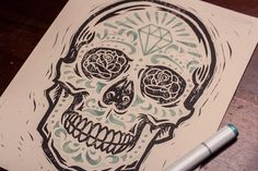 Diamond Sugar Skull - Block Print designed by Derrick Castle. the global community for designers and creative professionals. Sugar Skull Tattoos, Sugar Skull Art, Sugar Skulls, Copic Pens, Copics, Badass Tattoos, Body Art Tattoos, Thigh Tattoos, Tatoos