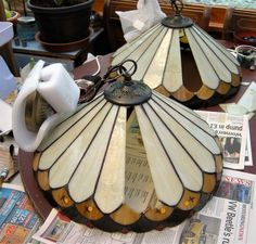 Two lamps in from Coventry for repair Stained Glass Lamps, Coventry