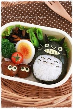 Totoro Onigiri Kyaraben Bento Lunch (Rice, Nori, Cheese, Kombu Kelp for Whiskers)