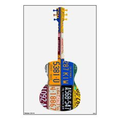 Guitar License Plate Art Vintage Recycled Decal.