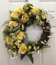 A personal favorite from my Etsy shop https://www.etsy.com/listing/292394513/yellow-spring-wreath-rose-wreath-summer