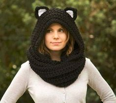 Cat Ear Scoodie, Black Cat Scarf with Hood, Crochet Black and White Animal Halloween Costume from WellRavelled on Etsy. Saved to Etsy Finds. Hand Crochet, Knit Crochet, Crochet Hats, Crochet Scarves, Crochet Clothes, Scoodie, Hooded Scarf Pattern, Animal Halloween Costumes, Cat Scarf
