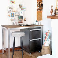 Want a standing workbench? This IKEA-hacked bench is simple and sturdy -- perfect for crafts.
