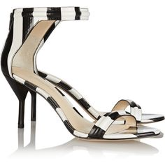 3.1 Phillip Lim Martini striped textured-leather sandals, Women's,... ($145) ❤ liked on Polyvore featuring shoes, sandals, small heel shoes, black and white stripe shoes, black white shoes, black and white striped sandals and white and black shoes