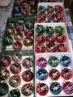 """ Or ""You rock"" or ""Youre an amazing asset to our team"" Cost efficient gift for staff members. Purchase brightly colored ornaments along with white and silver markers. Print name along with decorative lines on each ornament. Homemade Christmas, Diy Christmas Gifts, Christmas Projects, Christmas Treats, Holiday Fun, Christmas Holidays, Christmas Ornaments, Holiday Ideas, Christmas Decor"