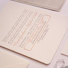 Peach and Gold Chevron Wedding Invitation by dodelinedesign
