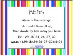 Mean, Median, Mode, and Range Posters! {FREE}