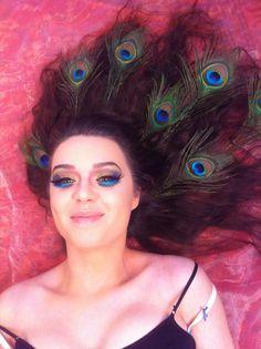Photographer-Irena Vondrasova  HMUA-Maegan's Make-up Model- Molly Jane Folan #neon#peacockfeathers#featherlashes#greeneyes#colorfulmakeup