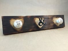MR & MRS Coat Rack Wall Hanger rustic burned wood with hearts ($20.00 USD - free shipping) by CecilandLynn--wall art for couple, couple sign, entryway coat rack, accessory hooks, wall decor, wall hanger, wedding gift, rustic, MR AND MRS, decorative knobs, coat rack, burned wood, pallet wood