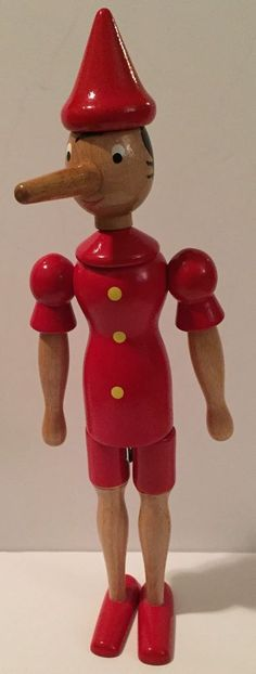 Wooden Pinocchio Doll Posable Vintage Toy Geppetto Painted Red Beige Long Nose | eBay