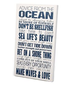 White & Navy 'Advice From the Ocean' Wall Art