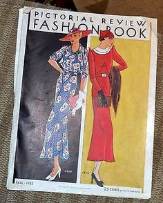 Vintage PICTORIAL REVIEW FASHION BOOK Fall 1933 Fashion Designs
