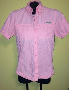 Columbia Sportswear Woman's Shirt - Pink Button Front SzSmall Short Sleeve Top  #Columbia #ButtonDownShirt #Casual
