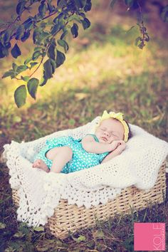 this is basically my dream August newborn shot - baby in a cute romper and headband cuddled up somewhere outside (blanket from Grandma and basket we already have, maybe?) - can we pull it off?